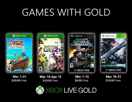 New Free 'Xbox Games With Gold' For March