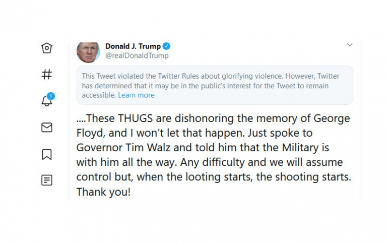 """Twitter Marks President Trump's Tweet With Tag Warning About """"Violence"""""""