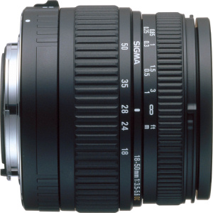 Sigma's 18-50mm F3.5-5.6  DC lens. Courtesy of Sigma, with modifications by Michael R. Tomkins.