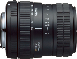 Sigma's 55-200mm F4–5.6 DC lens. Courtesy of Sigma, with modifications by Michael R. Tomkins.